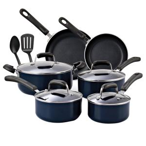 Click here to buy Cook N Home 12-Piece Blue Cookware Set with Lids by Cook N Home.