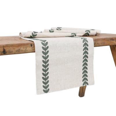 15 in. x 70 in. Cute Leaves Crewel Embroidered Table Runner, Pine Green/Natural