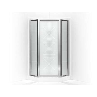 Intrigue 27-9/16 in. x 72 in. Neo-Angle Shower Door in Silver with Handle