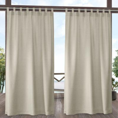 Biscayne Sand Light Filtering Tab Top Curtain Panel 54 in. W x 120 in. L (2 Panels)