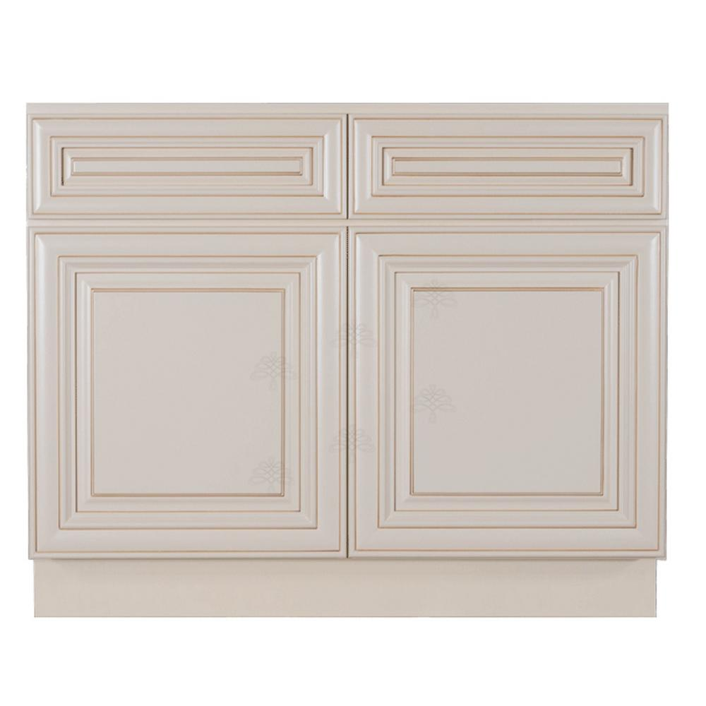 LIFEART CABINETRY Princeton Assembled 36 in. x 34.5 in. x 24 in. Sink Base  Kitchen Cabinet with 2-Door in Creamy White Glazed