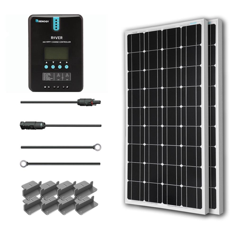 200-Watt 12-Volt Monocrystalline Off-Grid Solar Starter Kit with MPPT Charge Controller
