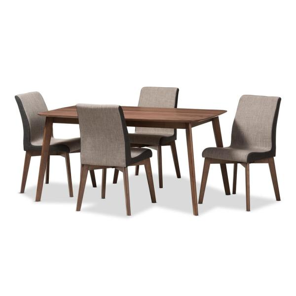 Baxton Studio Kimberly 5-Piece Light Brown and Walnut Brown Dining Set