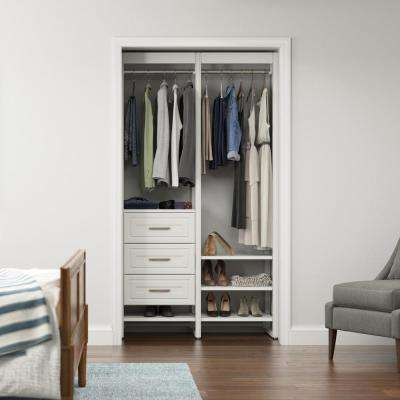 46.5 in. W White Adjustable Tower Wood Closet System with 3 Drawers and 7 Shelves