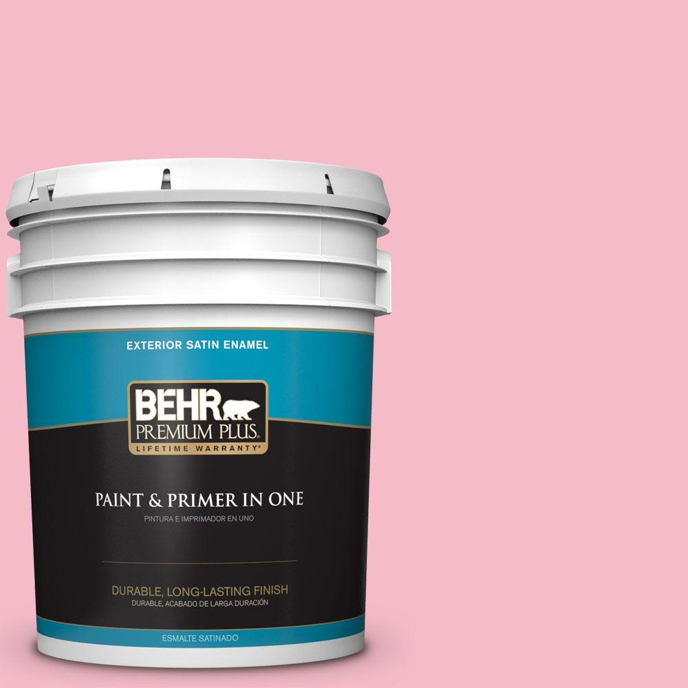 BEHR Premium Plus 5-gal. #120C-2 Pink Punch Satin Enamel Exterior ...