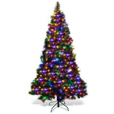7Ft Pre-Lit PVC Hinged Artificial Christmas Tree with Colorful LED Lights and Stand