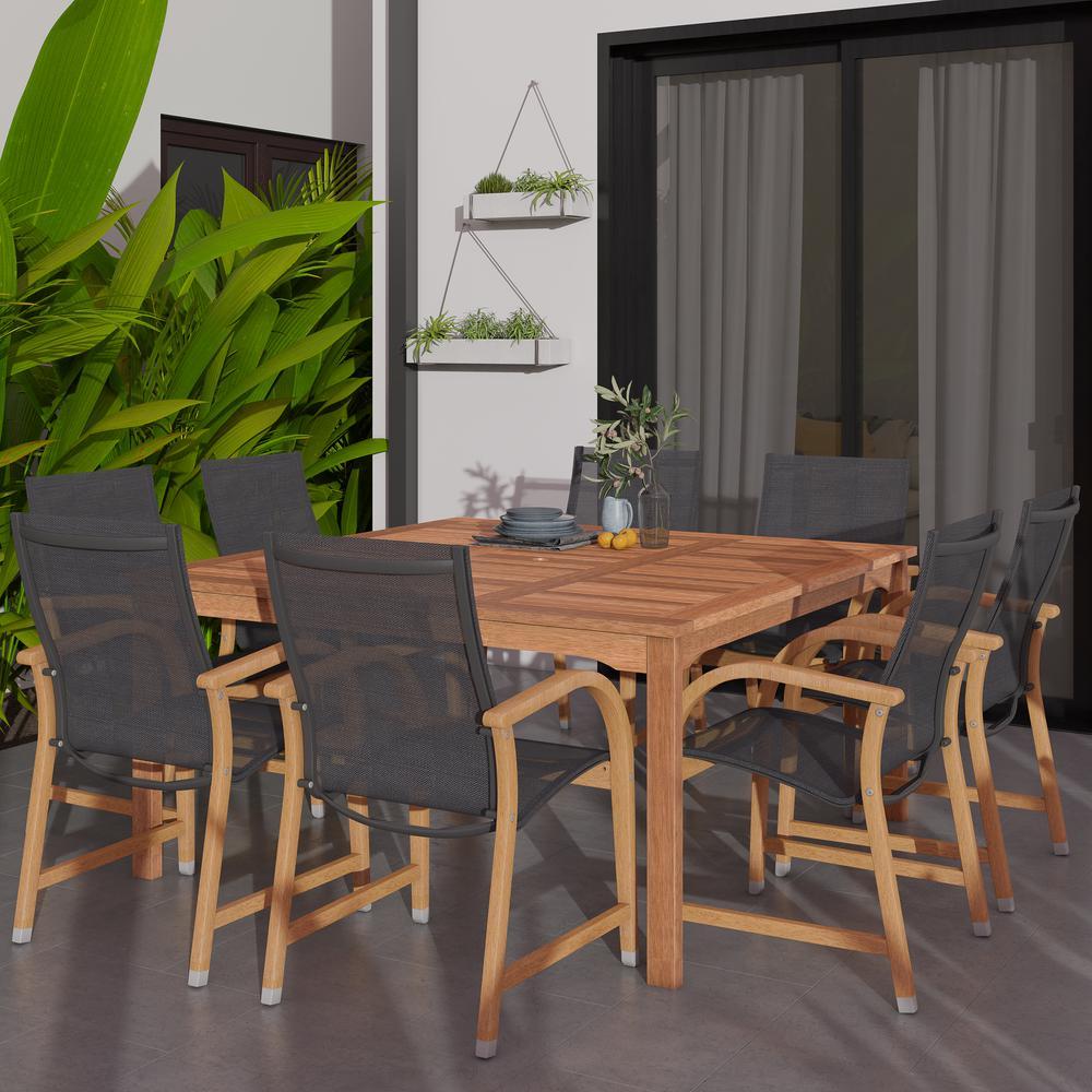 Bahamas Square 9-Piece Eucalyptus Patio Dining Set
