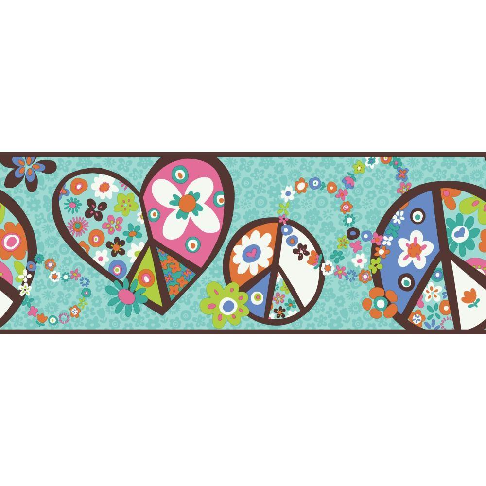 York Wallcoverings Inspired By Color Peace Sign Wallpaper Border