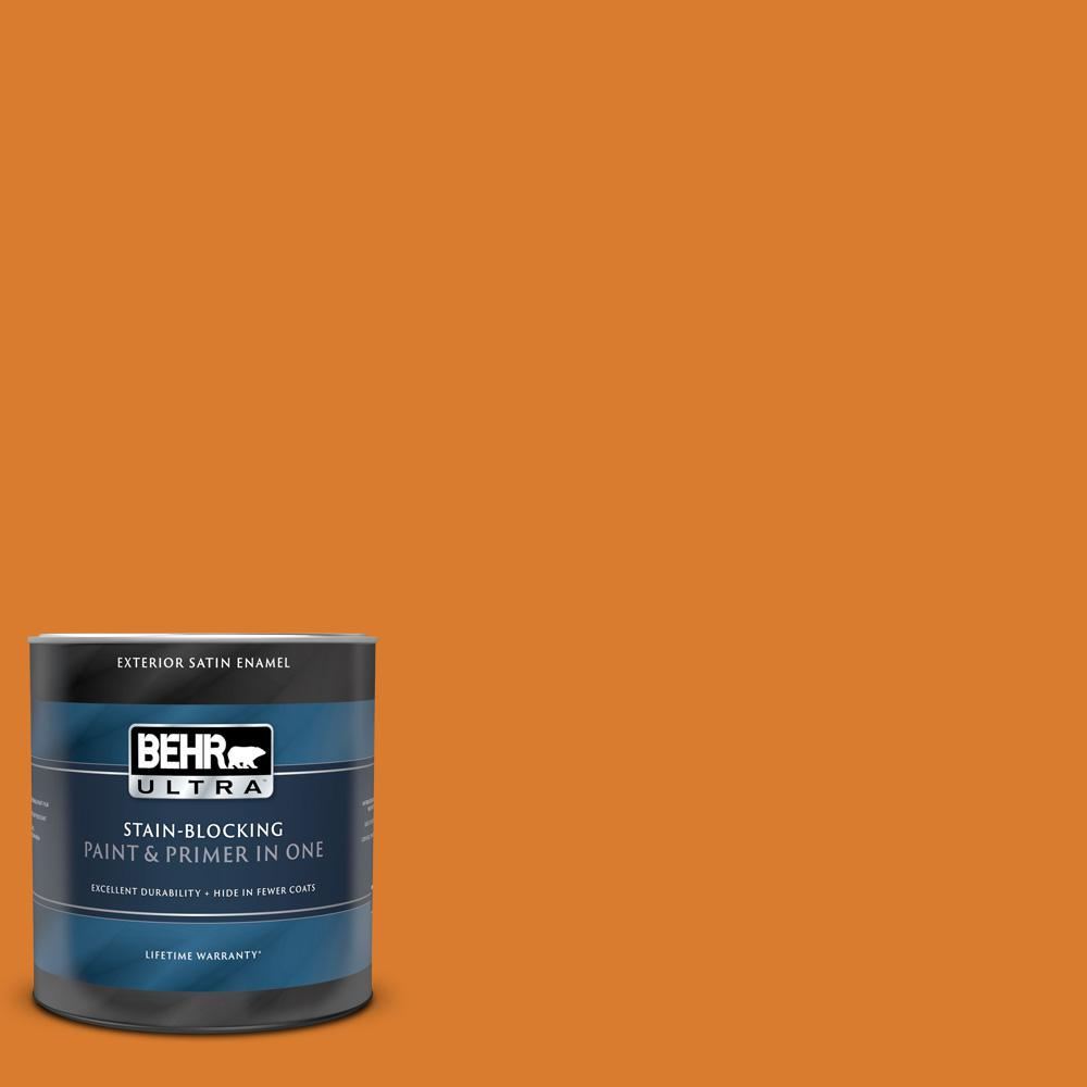 Behr Ultra 1 Qt 270b 7 Bonfire Satin Enamel Exterior Paint And Primer In One 985304 The Home Depot