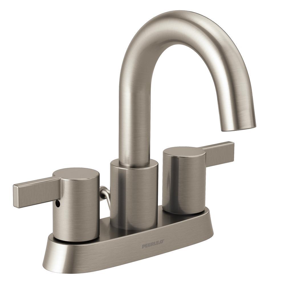 Peerless 4 in. Centerset 2-Handle Bathroom Faucet in Brushed Nickel