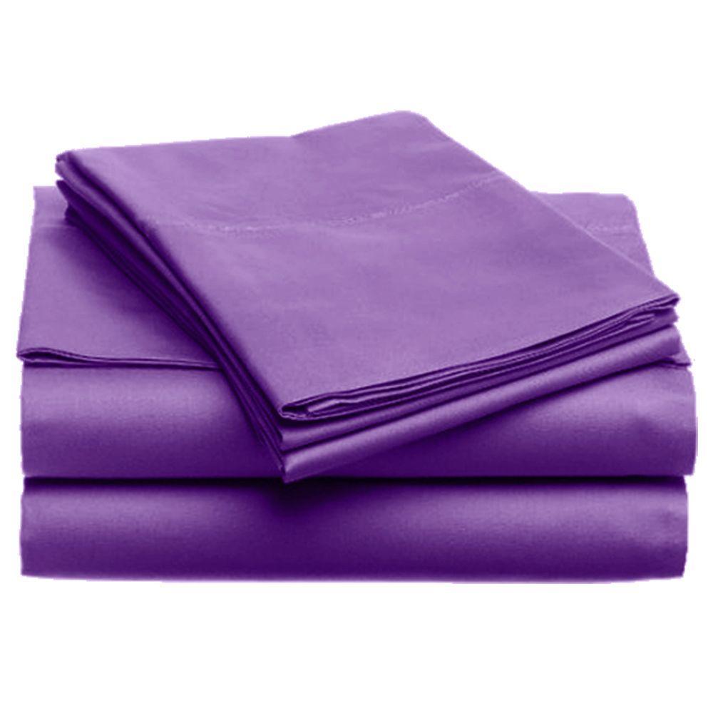 Jill Morgan Fashion Solid Purple Microfiber Queen Sheet Set (4-Piece)