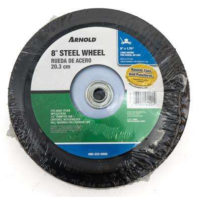 8 in. x 1.75 in. Universal Steel Wheel with Shielded Ball Bearings for Extended Life and a Centered Hub