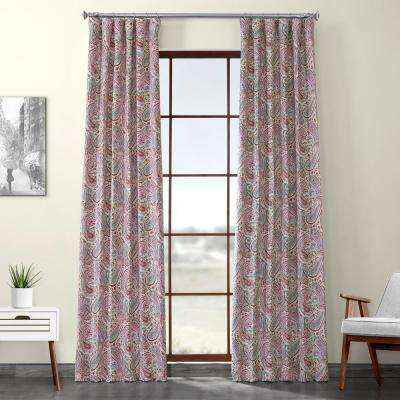 Bohemian Paisley Pink Printed Linen Textured Blackout Curtain - 50 in. W x 120 in. L (1-Panel)