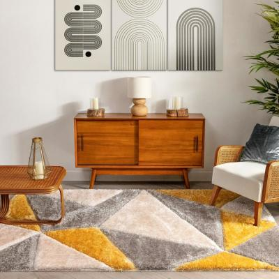 San Francisco Venice Yellow Modern Geometric Abstract 7 ft. 10 in. x 9 ft. 10 in. 3D Carved Shag Area Rug