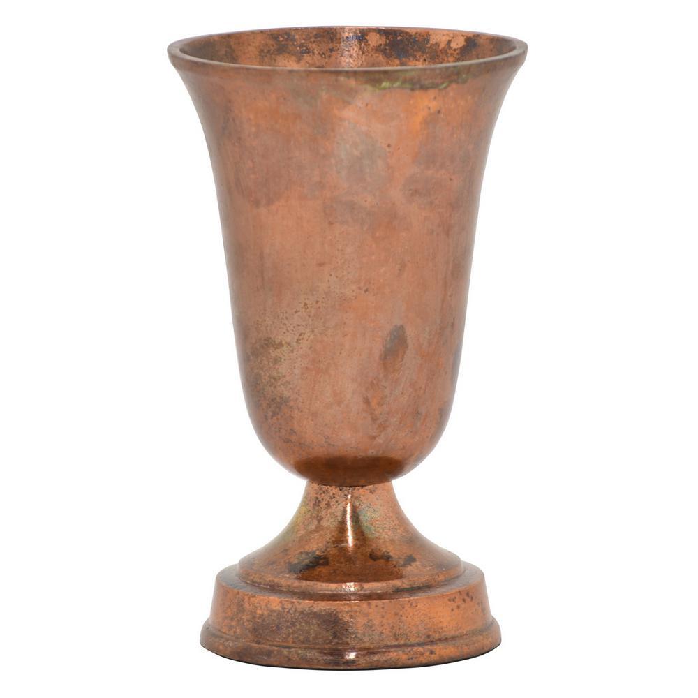 9.5 in. Metal Vase in Copper