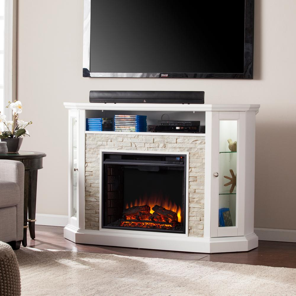 W corner convertible media electric fireplace in white