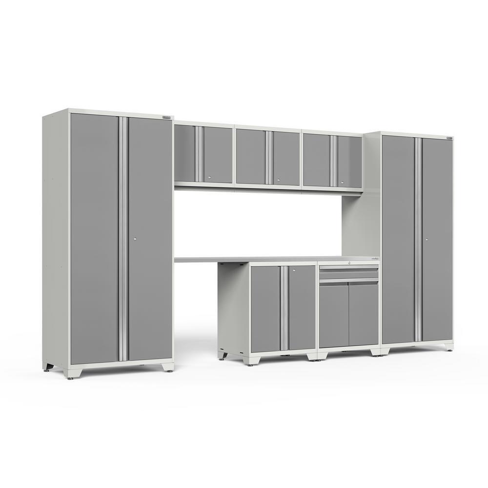 Pro 3.0 156 in. W x 83.25 in. H x 24 in. D 18-Gauge Steel Stainless Steel Worktop Cabinet Set in Platinum (8-Piece)