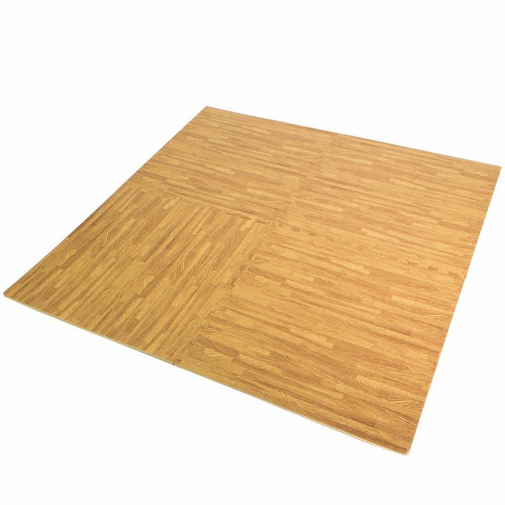 Multipurpose Wood Grain 23.6 in. x 23.6 in. EVA Rubber High Density Interlocking Exercise Tile Mat (4-Pack)