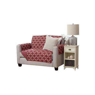 Adalyn Collection Burgundy Printed Reversible Loveseat Furniture Protector