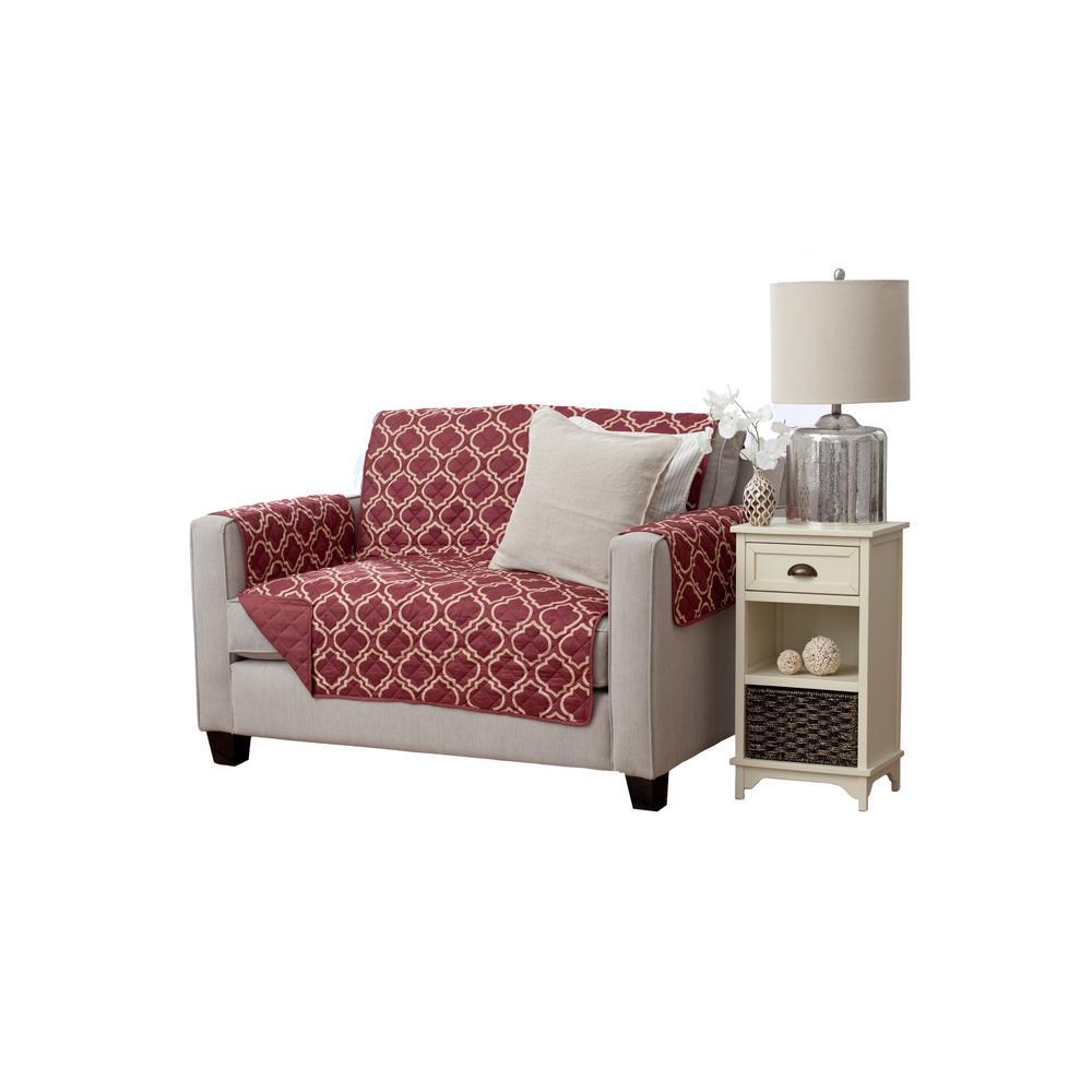 Adalyn Collection Burgundy Printed Reversible Loveseat Furniture Protector