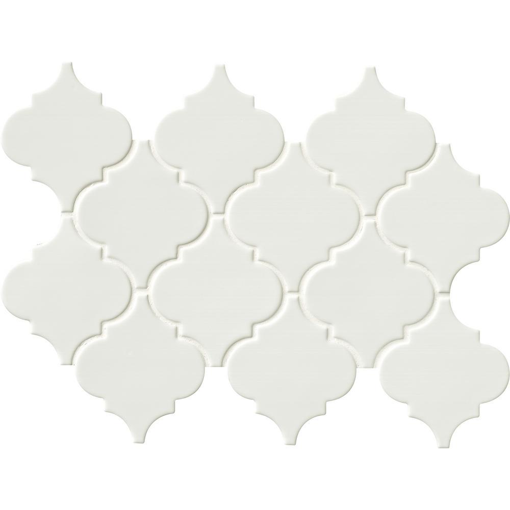 Whisper White Arabesque 10-1/2 in. x 15-1/2 in. x 8mm Glazed Ceramic Mesh-Mounted Mosaic Wall Tile (11.3 sq. ft. / case)