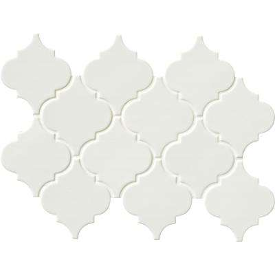 Whisper White Arabesque 10-1/2 in. x 15-1/2 in. x 8 mm Glazed Ceramic Mesh-Mounted Mosaic Wall Tile (11.3 sq.ft. / case)