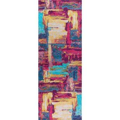 Dynasty Pink and Aqua 3 ft. x 10 ft. Contemporary Runner Rug