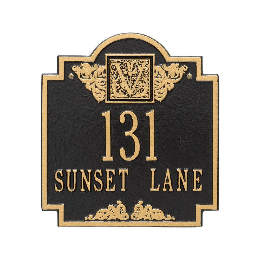Whitehall Products Monogram Standard Square Black/Gold Wall 2-Line Address Plaque