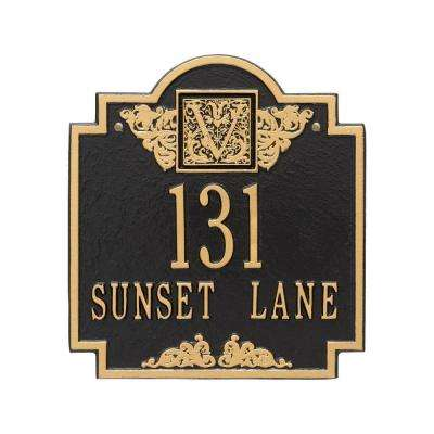 Monogram Standard Square Black/Gold Wall 2-Line Address Plaque
