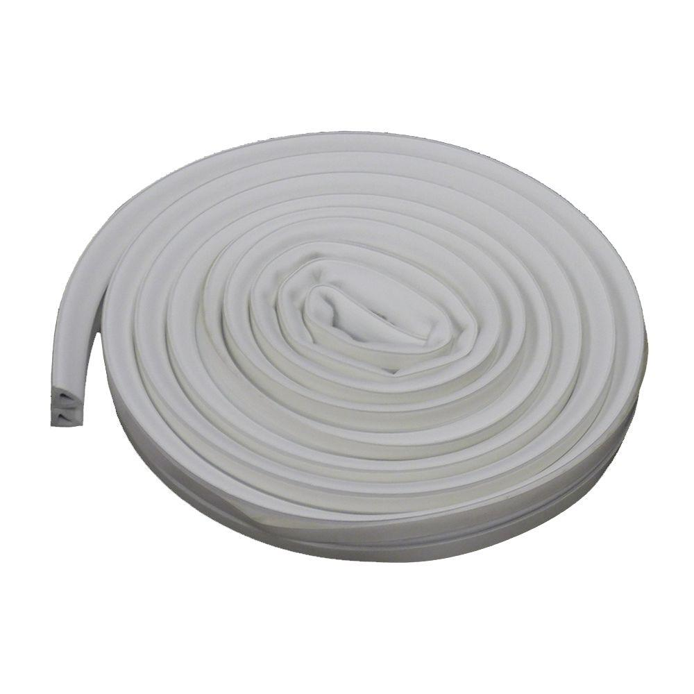 3/8 in. x 17 ft. White Silicone/Rubber Lifetime Weatherstrip for Extra