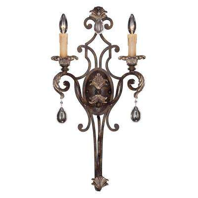 2-Light Moroccan Bronze Sconce with Clear Crystals