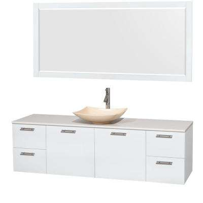 Amare 72 in. Vanity in Glossy White with Solid-Surface Vanity Top in White, Marble Sink and 70 in. Mirror