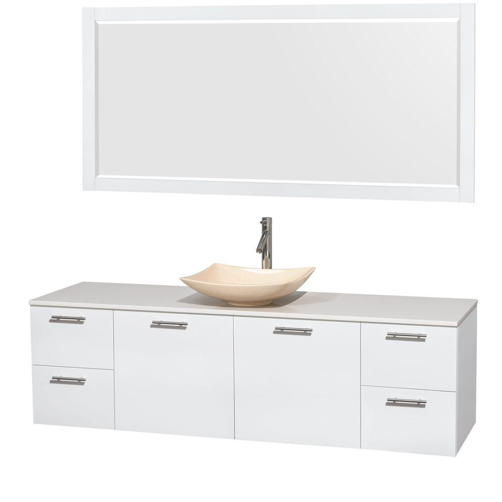 Wyndham Collection Amare 72 in. Vanity in Glossy White with Solid-Surface Vanity Top in White, Marble Sink and 70 in. Mirror