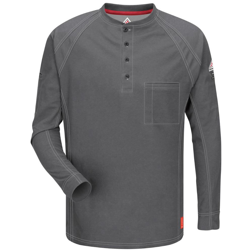IQ Men's Large (Tall) Charcoal Long Sleeve Henley