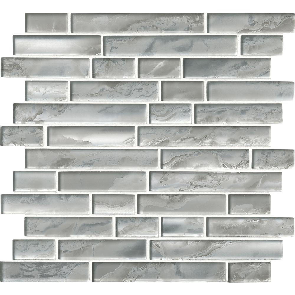 Ms international silver canvas interlocking 12 in x 12 in for Installing glass tile with mesh back