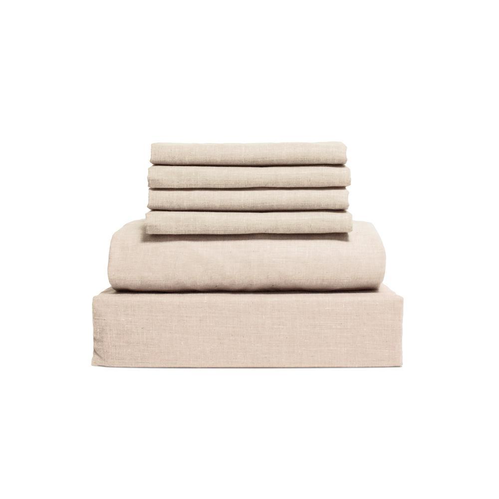 Chambray 6-Piece Oatmeal Cotton/Polyester Full Sheet Set