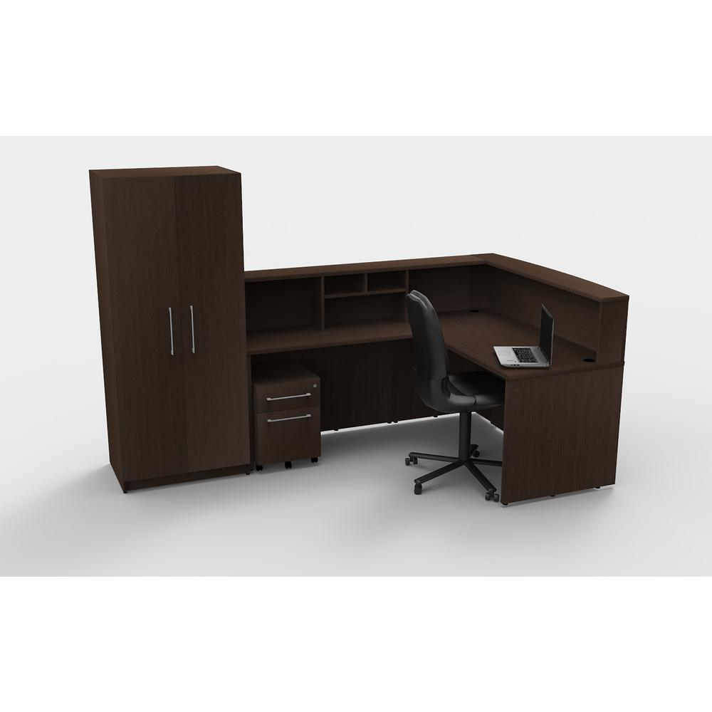 6-Piece Espresso Office Reception Desk Collaboration Center