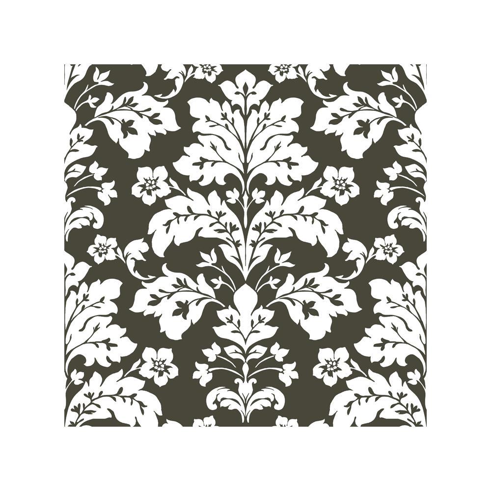 Chesapeake Camila Black Modern Damask Wallpaper Sample CHR11655SAM