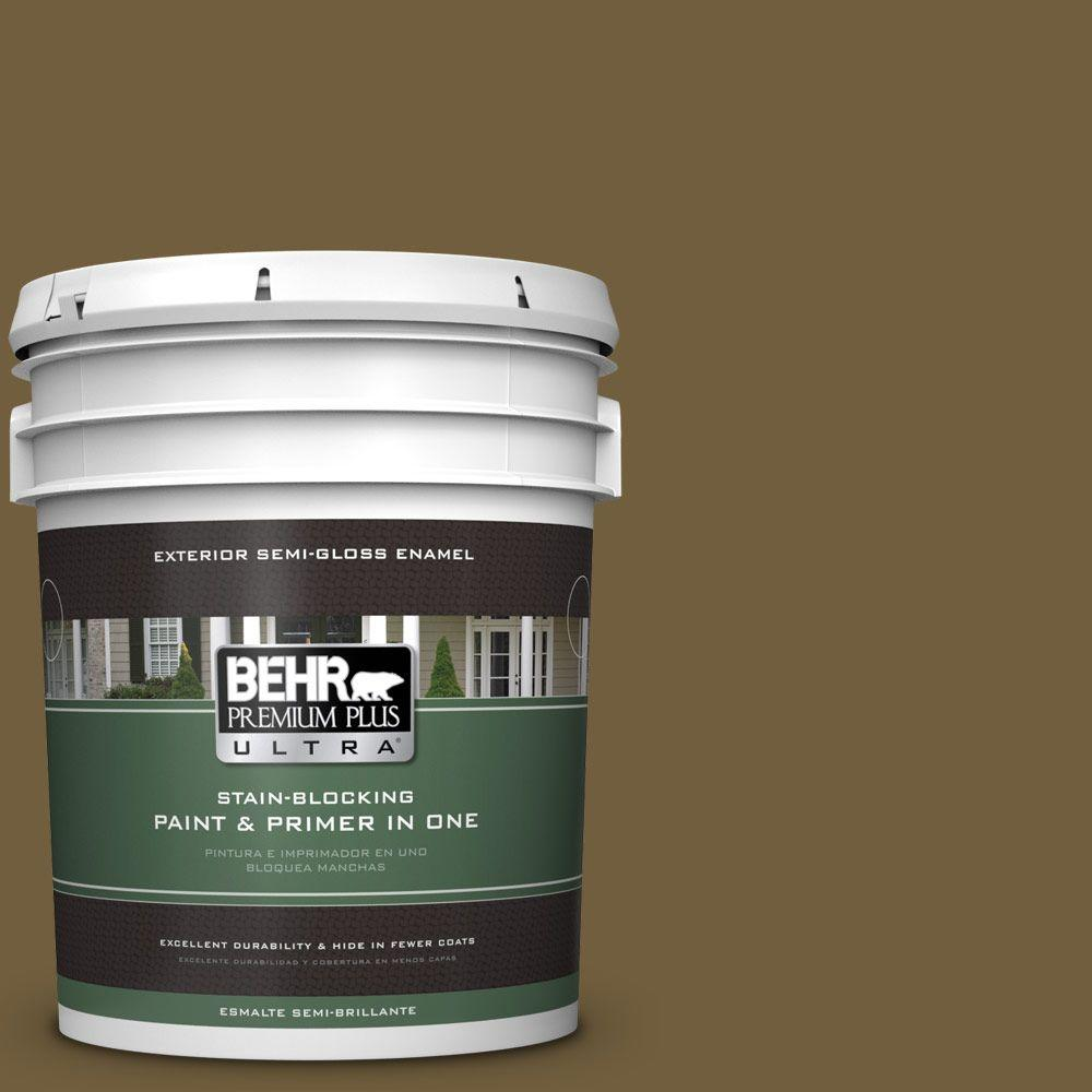 5-gal. #360F-7 Olive Shadow Semi-Gloss Enamel Exterior Paint