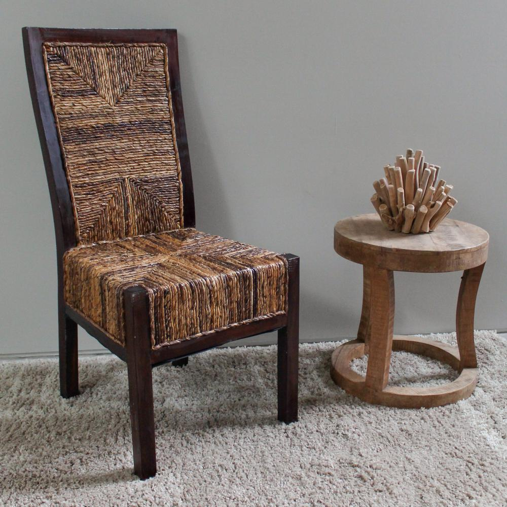 Dallas Salak Brown Abaca Weave Dining Chairs With Mahogany