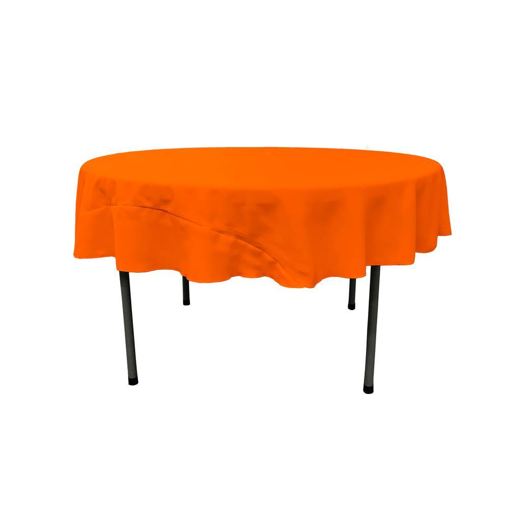 LA Linen Orange 72 In. Round Polyester Poplin Tablecloth