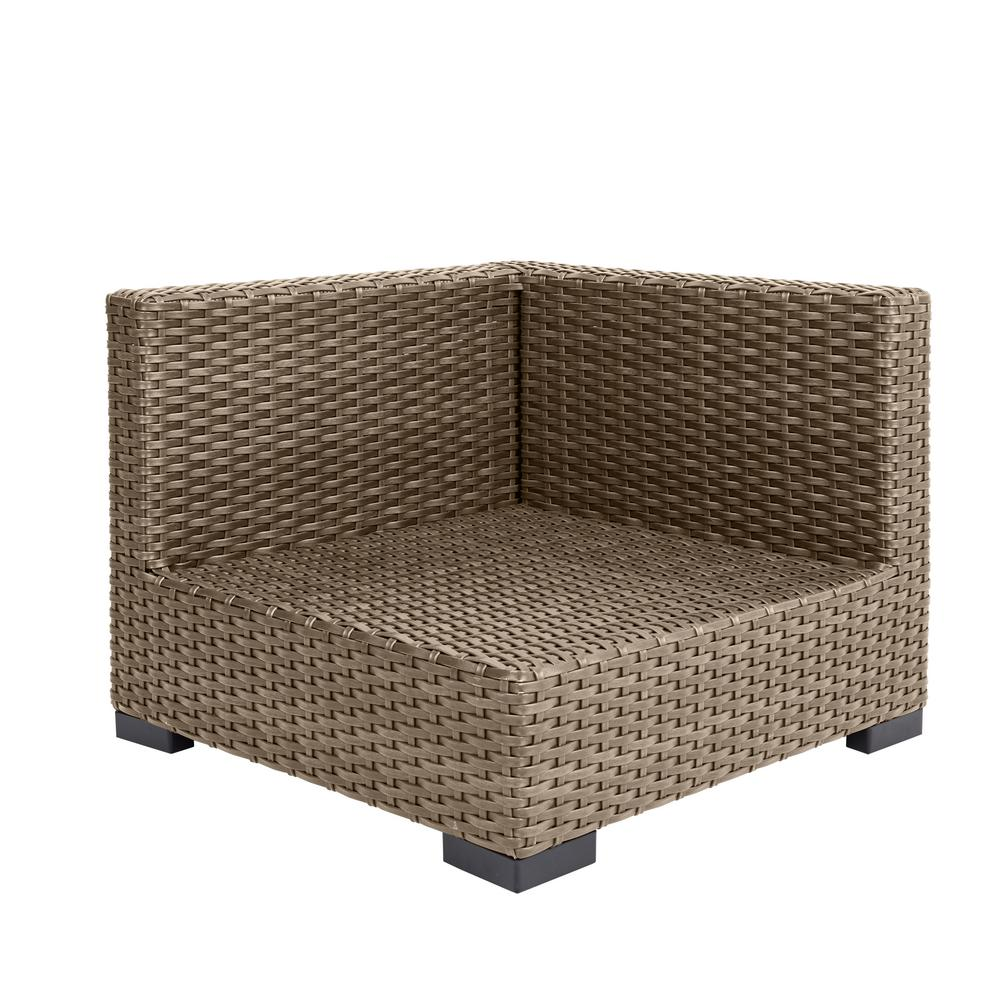 Hampton Bay Commercial Natural Wicker Left Arm, Right Arm or Corner Outdoor  Sectional Chair
