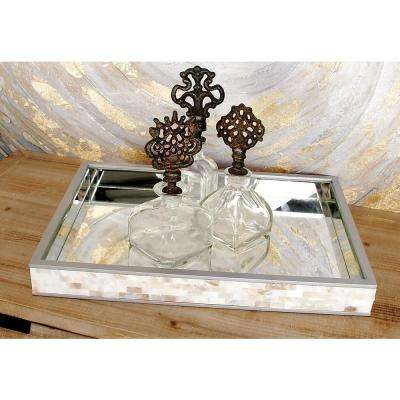 18 in. W x 2 in. H Rectangular Decorative Tray with Mirrored Interior and Mother-of-Pearl-Tiled Exterior