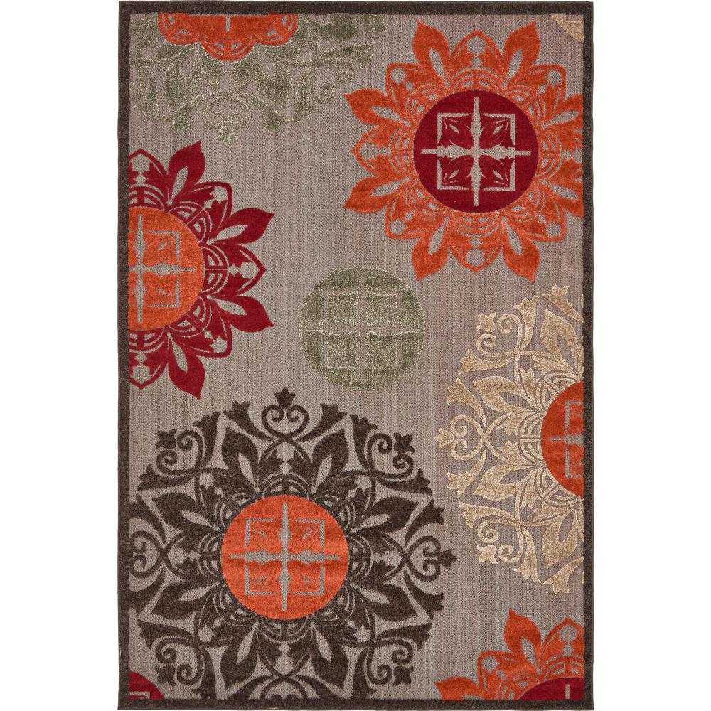 Uniquely Modern Rugs: Unique Loom Outdoor Modern Brown 6' X 9' Rug-3136776