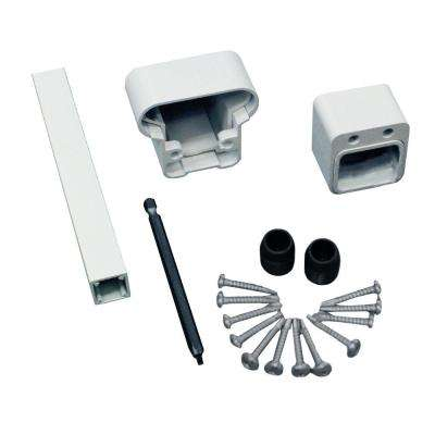 Pro White Aluminum Fixed Angle Stair Hand Rail and Bottom Rail Connector Kit (2-Pack)
