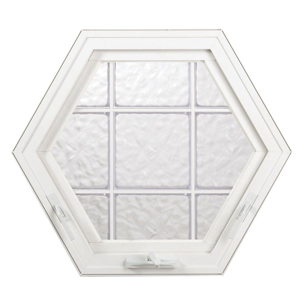 Hy-Lite 42.75 in. x 37 in. Wave Pattern 8 in. Acrylic Block, Vinyl Fin Hexagon Awning Window,White, Silicone&Screen-DISCONTINUED
