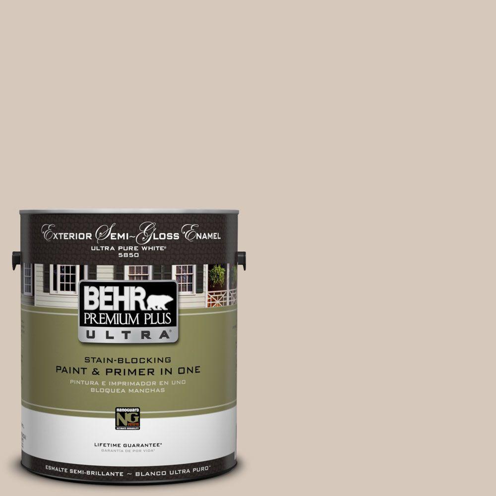 BEHR Premium Plus Ultra 1-Gal. #UL170-16 Almond Wisp Semi-Gloss Enamel Exterior Paint