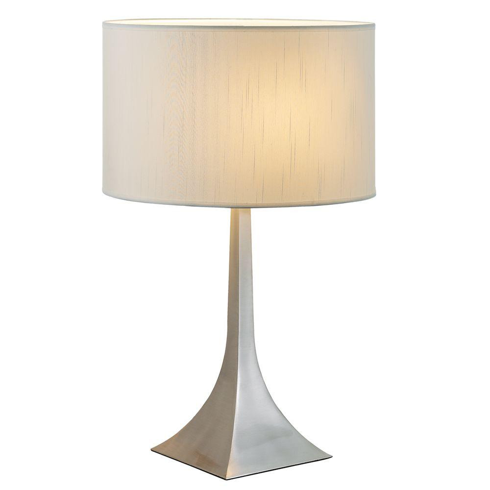 Satin steel tall table lamp