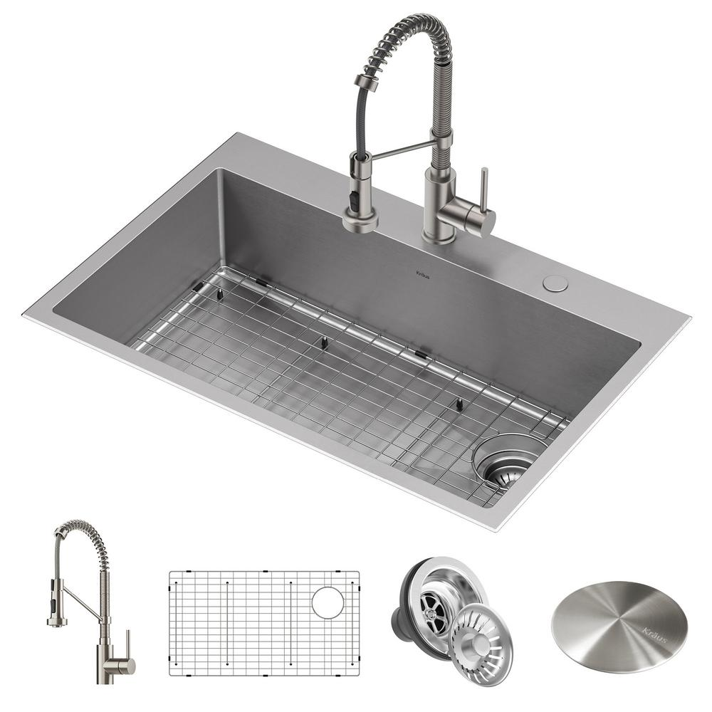 Kraus Loften All In One Dual Mount Stainless Steel 33in Single Bowl Kitchen Sink With Pull Down Faucet In Spot Free Stainless Kht410 33 Kpf 1610sfs The Home Depot