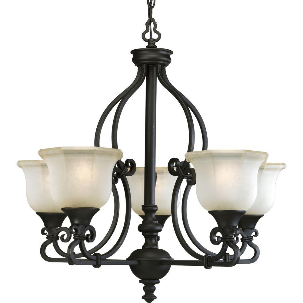 Progress Lighting Guildhall Collection 5-Light Forged Black Chandelier-DISCONTINUED